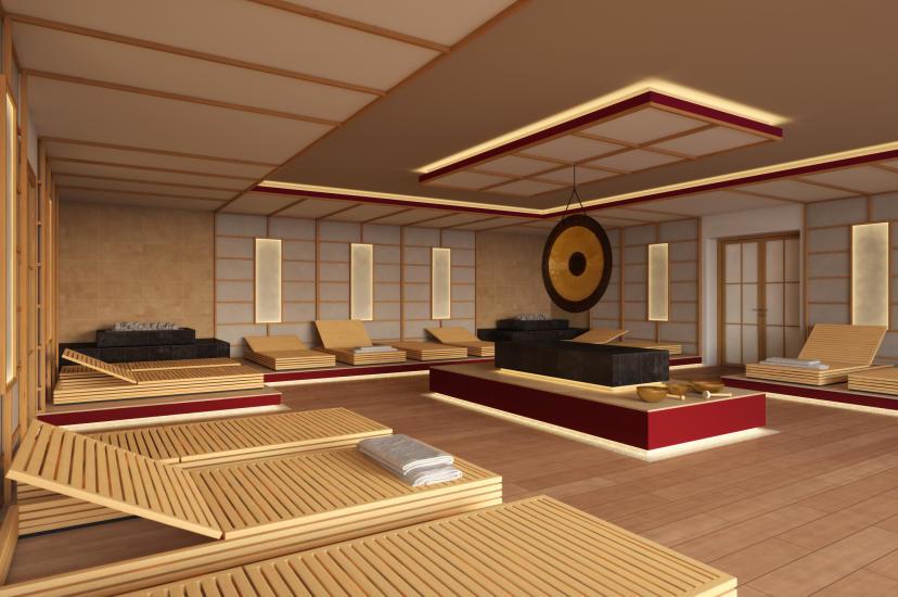 Japansk meditasjonsbadstu.