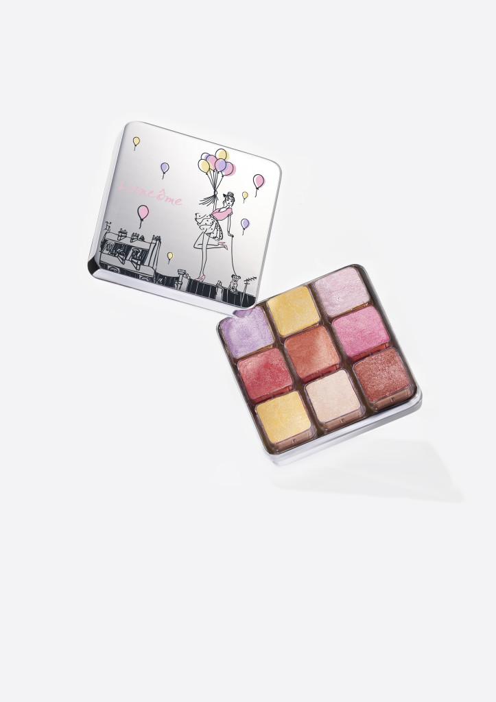 Lancômes nye palett består av ni små kuber pakket i en dekorativ og søt blikkboks.