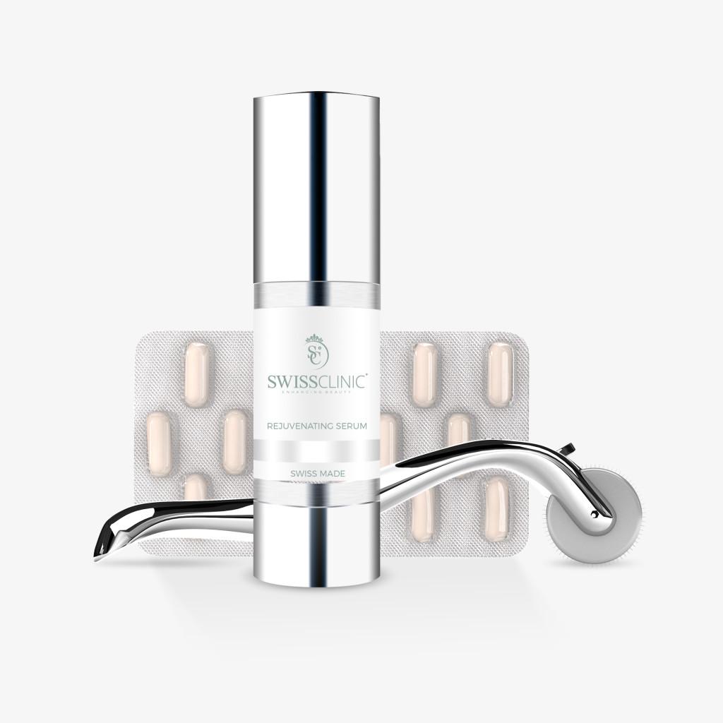 Bestselgeren er Swiss Skin Renewal, et sett bestående av roller og serum, men Swiss Clinic har også hårpleie, kosttilskudd, øyedråper, vippeserum og produkter til tannbleking.